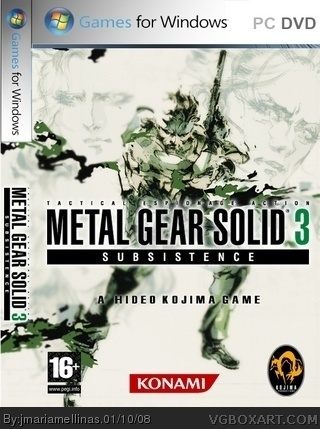 metal gear solid 3 subsistence pc box art cover by