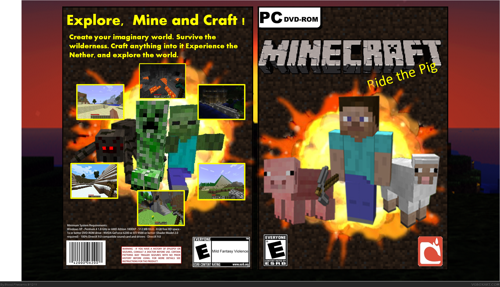 For Minecraft Pc Game Case : Minecraft pc box art cover by blood pheoenix