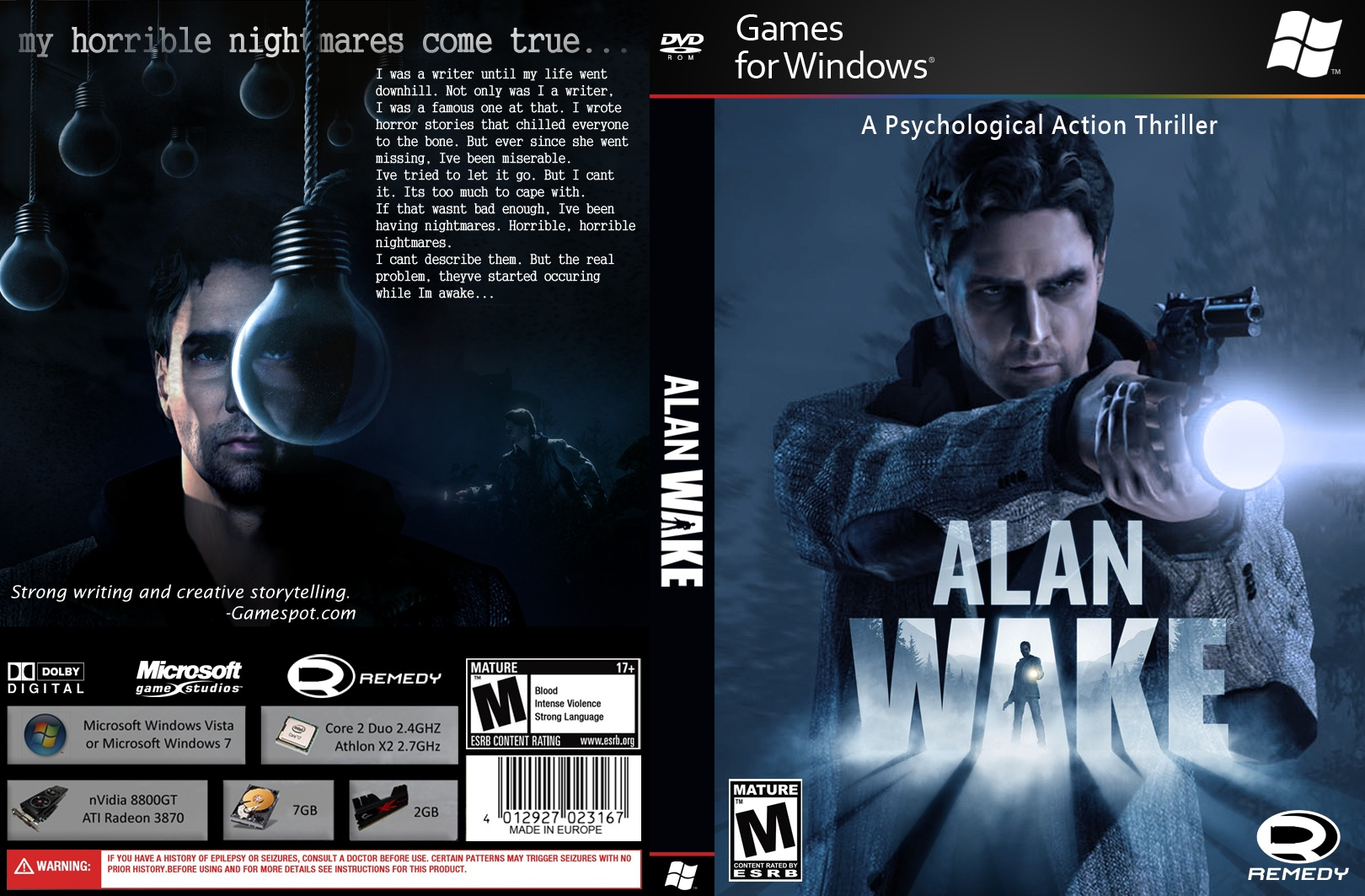 Viewing full size Alan Wake box cover