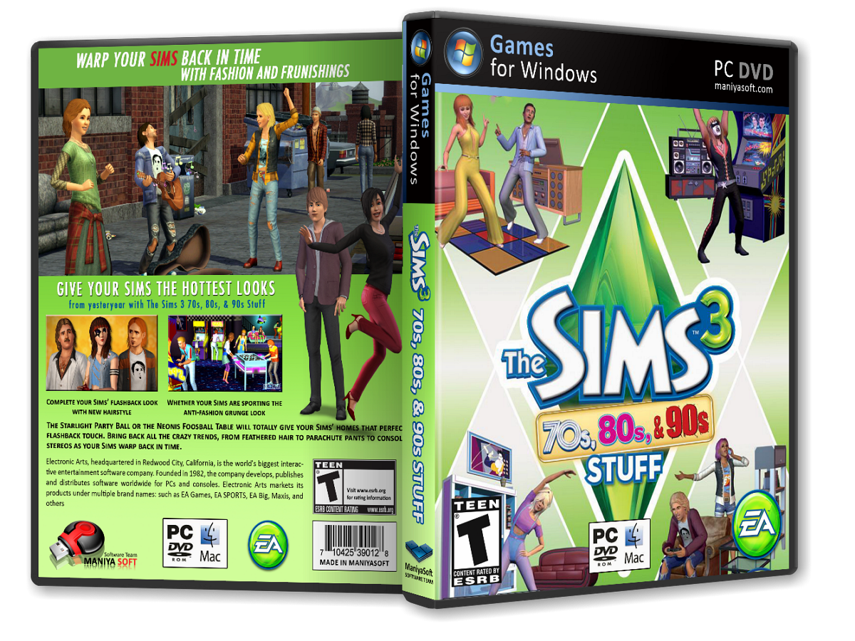The Sims 3: 70s, 80s, & 90s box cover