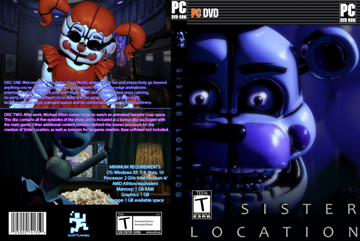 five nights at freddy 39 s sister location pc box art cover by spm1 boxerartist. Black Bedroom Furniture Sets. Home Design Ideas