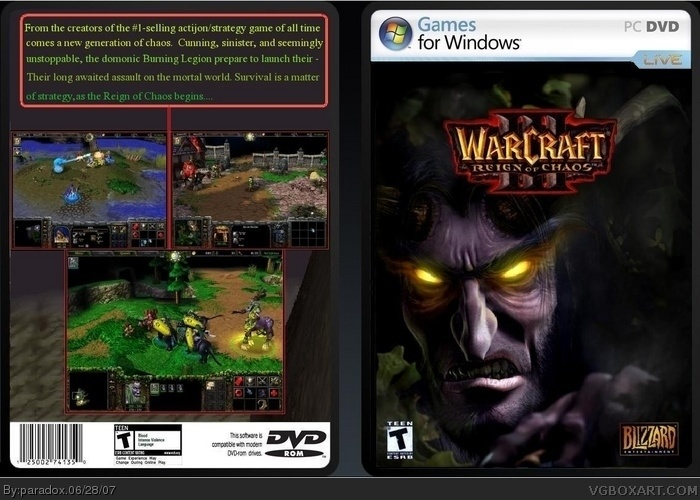 Warcraft 3 Reign Of Chaos Pc Box Art Cover By Paradox