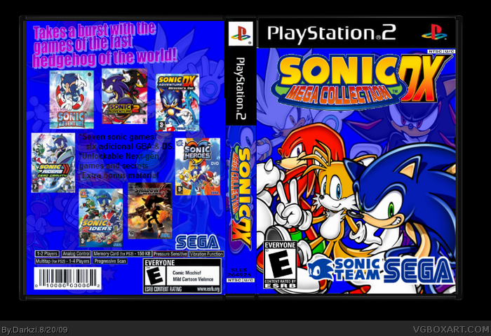 Sonic Mega Collection Dx Playstation 2 Box Art Cover By Darkzi