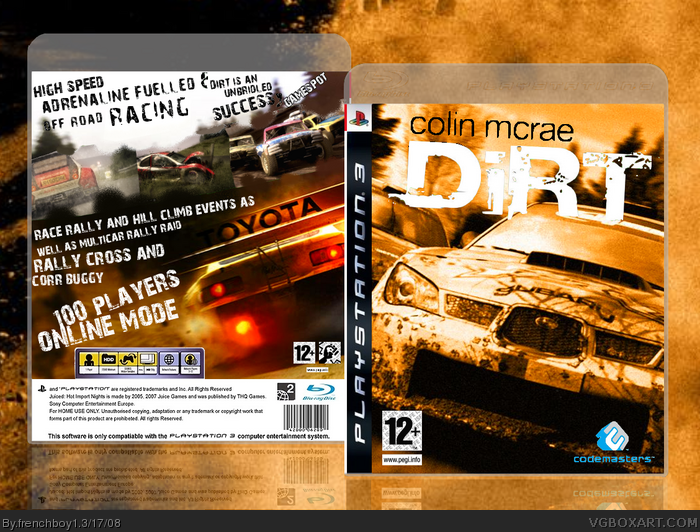 colin mcrae dirt playstation 3 box art cover by frenchboy1. Black Bedroom Furniture Sets. Home Design Ideas