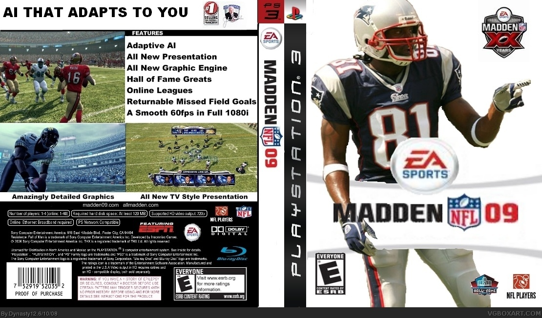 MADDEN 09 PlayStation 3 Box Art Cover by Dynasty12