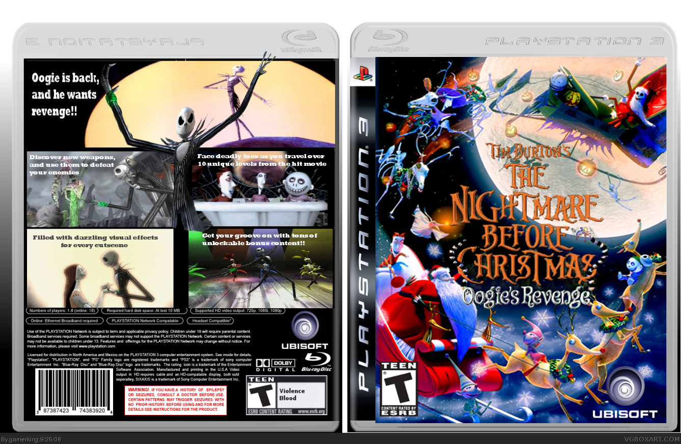 The Nightmare Before Christmas PlayStation 3 Box Art Cover by gamerking