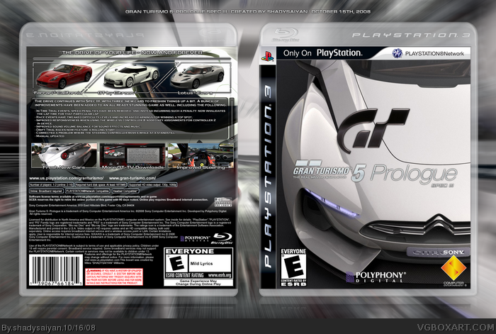 gran turismo 5 prologue spec iii playstation 3 box art. Black Bedroom Furniture Sets. Home Design Ideas