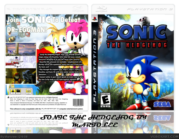 sonic the hedgehog hd remix playstation 3 box art cover by mariolee