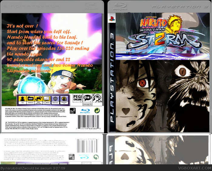 Naruto ultimate ninja storm II PlayStation 3 Box Art Cover