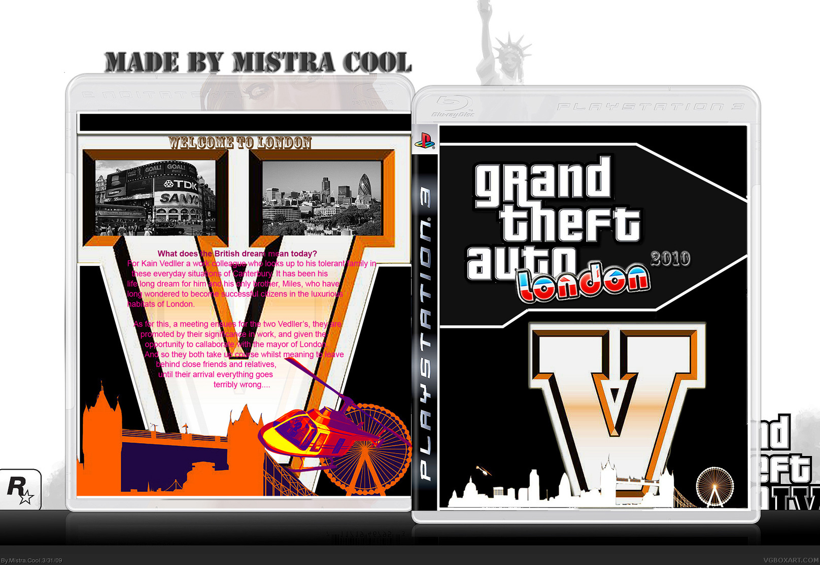 Viewing full size Grand Theft Auto V ; London 2010 box cover