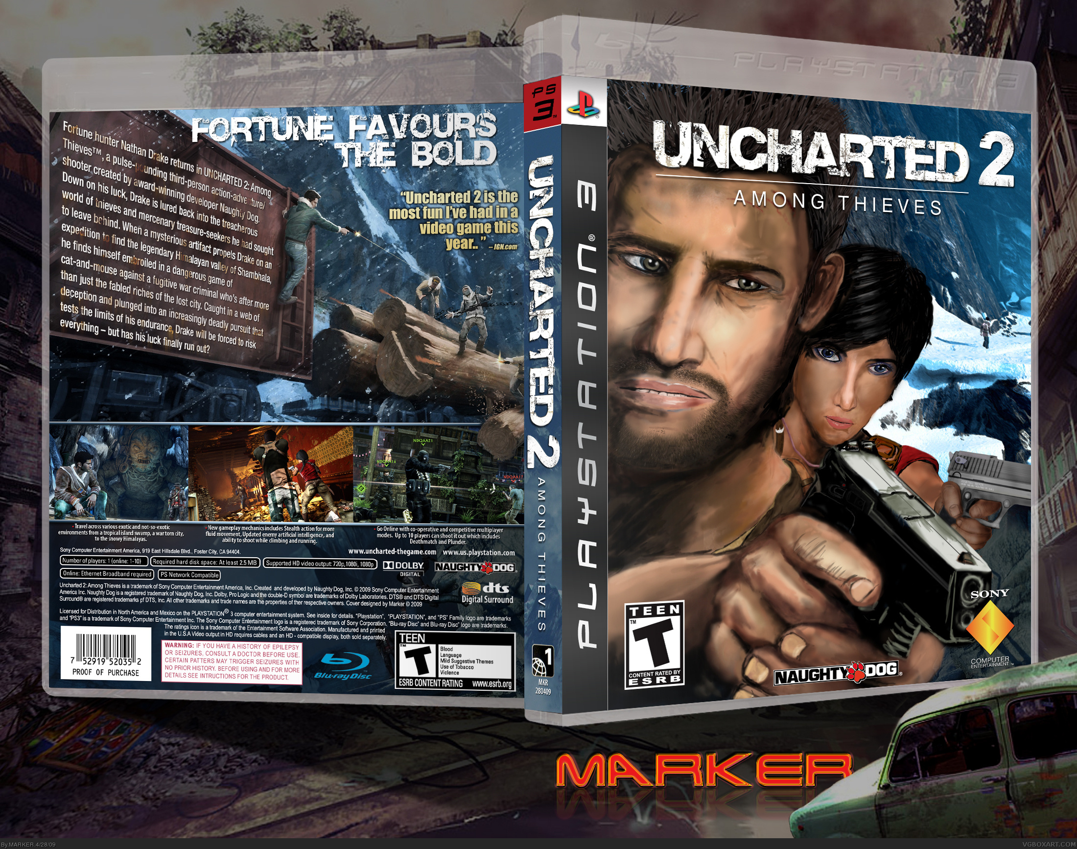Viewing Full Size Uncharted 2 Among Thieves Box Cover