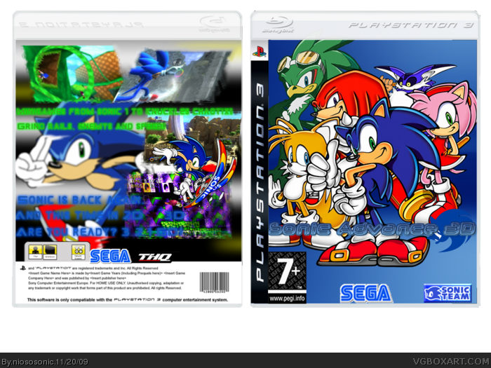 PlayStation 3 » Sonic Advance 3D Box Cover