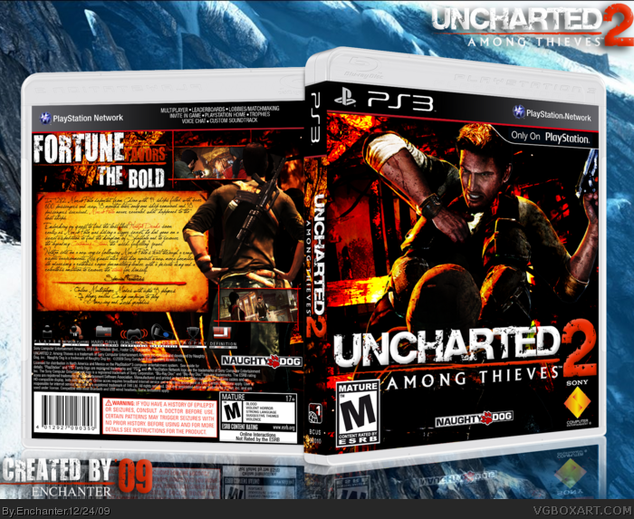 Uncharted 2 Among Thieves Playstation 3 Box Art Cover By Enchanter