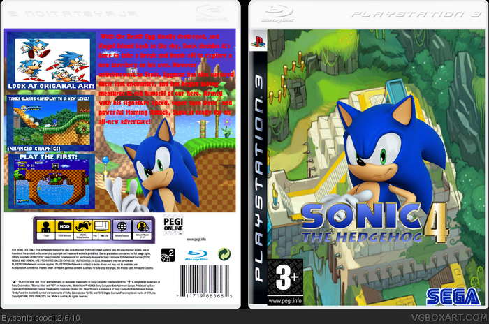 Sonic Games For Ps3 : Sonic the hedgehog playstation box art cover by