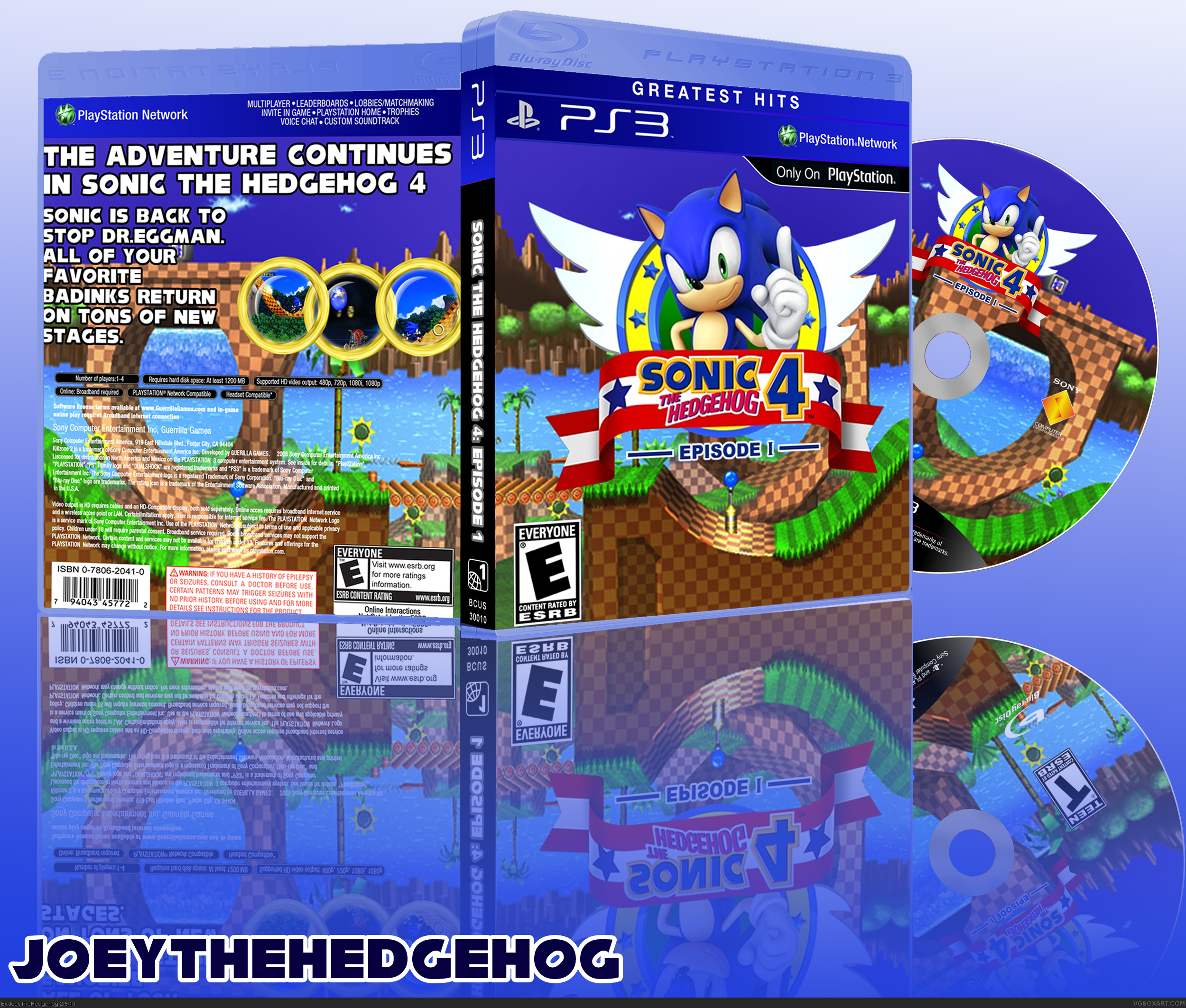 sonic the hedgehog 4 episode 1 playstation 3 box art cover by joeythehedgehog. Black Bedroom Furniture Sets. Home Design Ideas