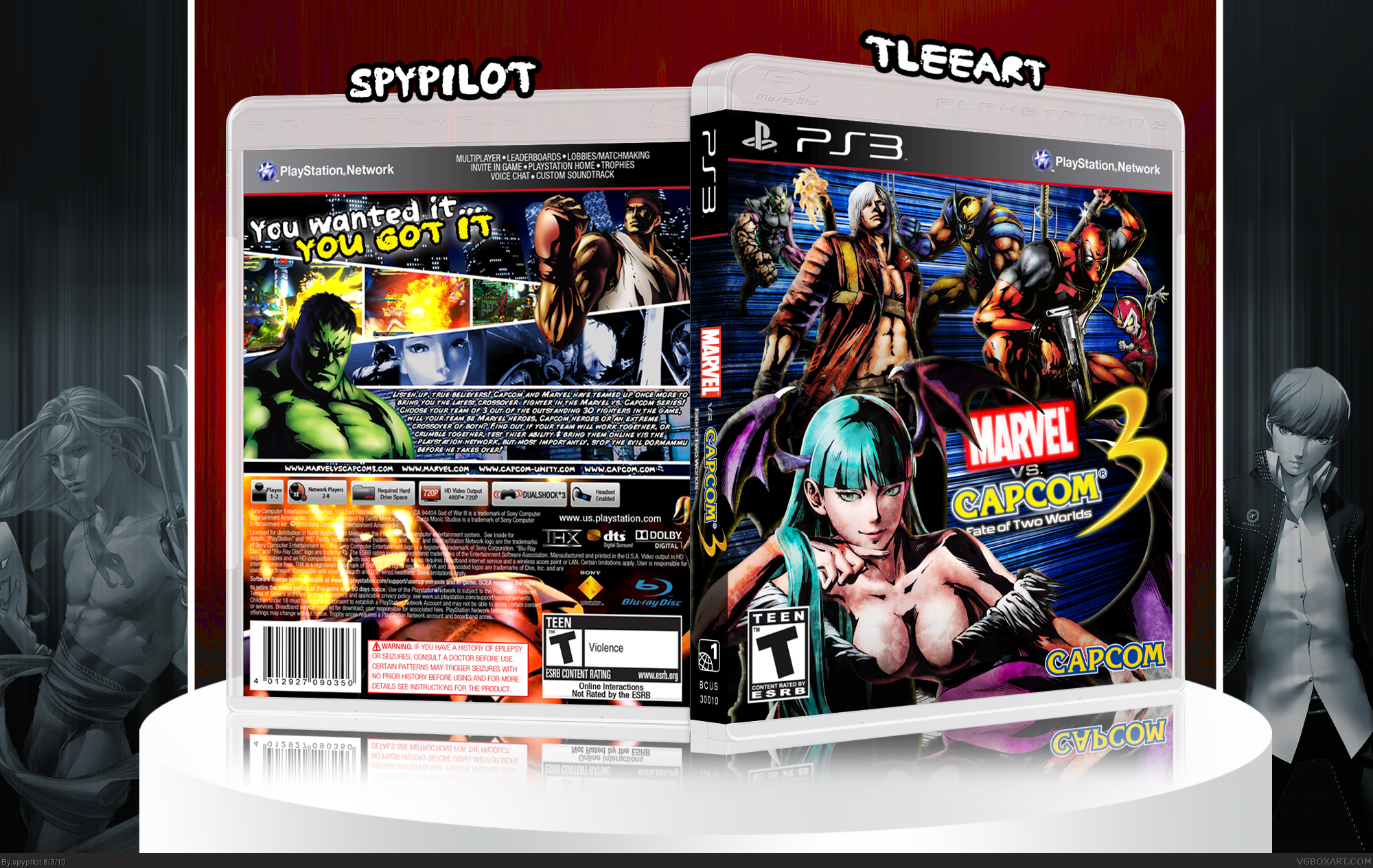Viewing full size marvel vs capcom 3 fate of two worlds box cover by