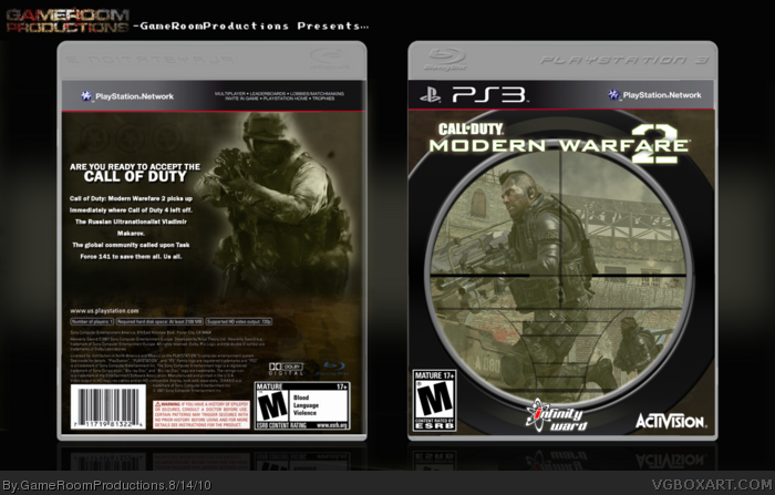 Call Of Duty: Modern Warfare 2 PlayStation 3 Box Art Cover ...