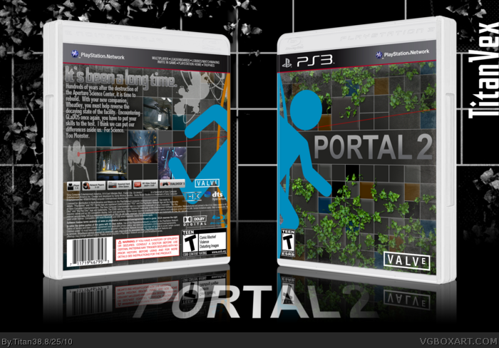 portal 2 playstation 3 box art cover by titan38. Black Bedroom Furniture Sets. Home Design Ideas