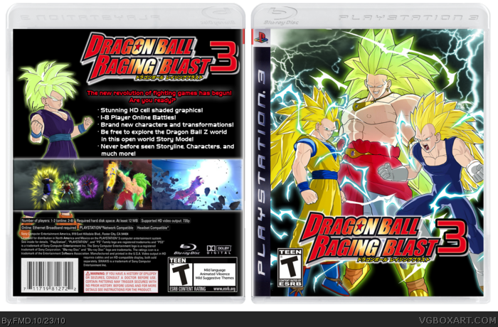 Dragon Ball Z: Raging Blast 3 PlayStation 3 Box Art Cover by FMD