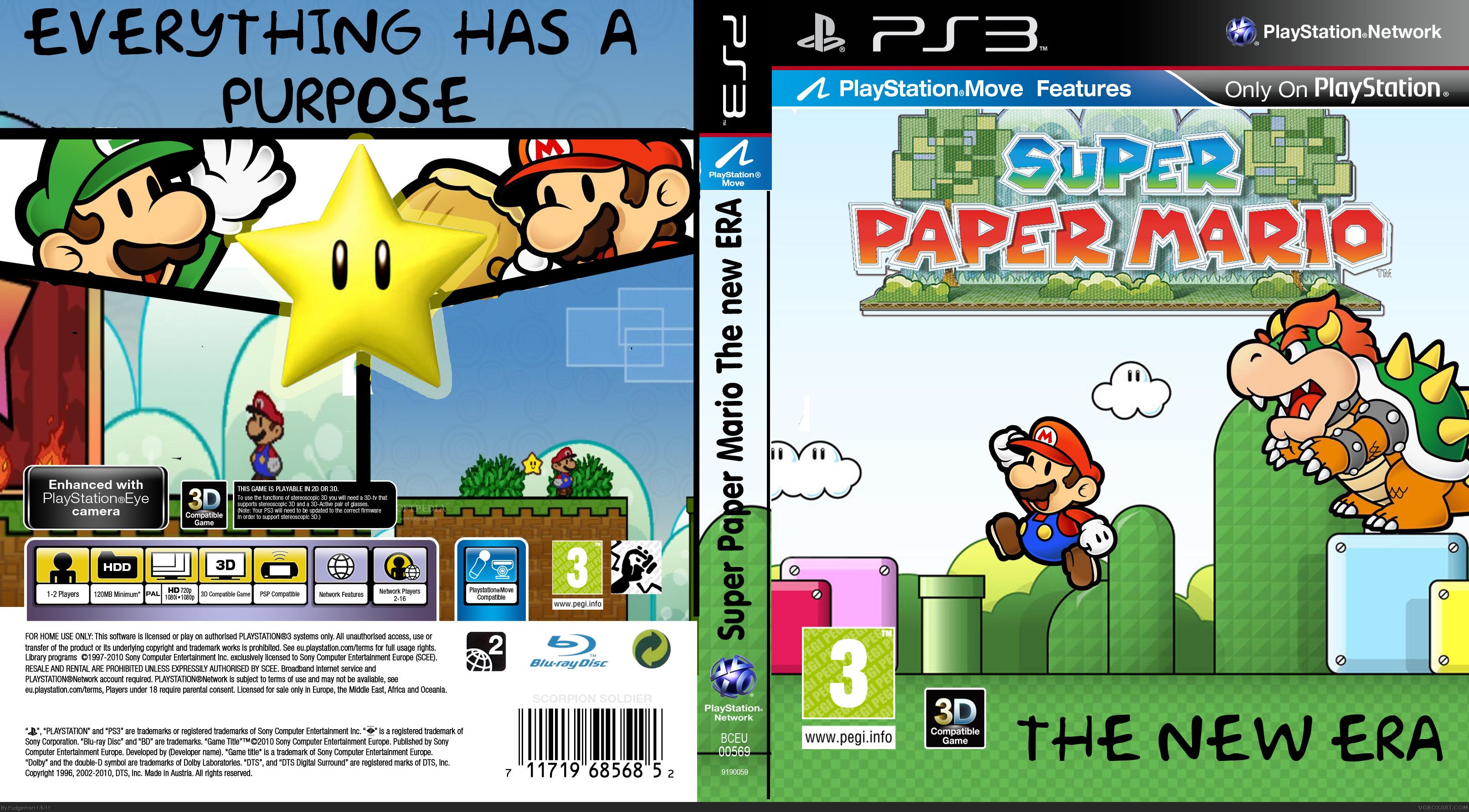 Mario Games For Ps3 : Super paper mario the new era playstation box art cover