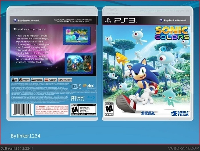 Sonic Games For Ps3 : Sonic colours ps playstation box art cover by linker