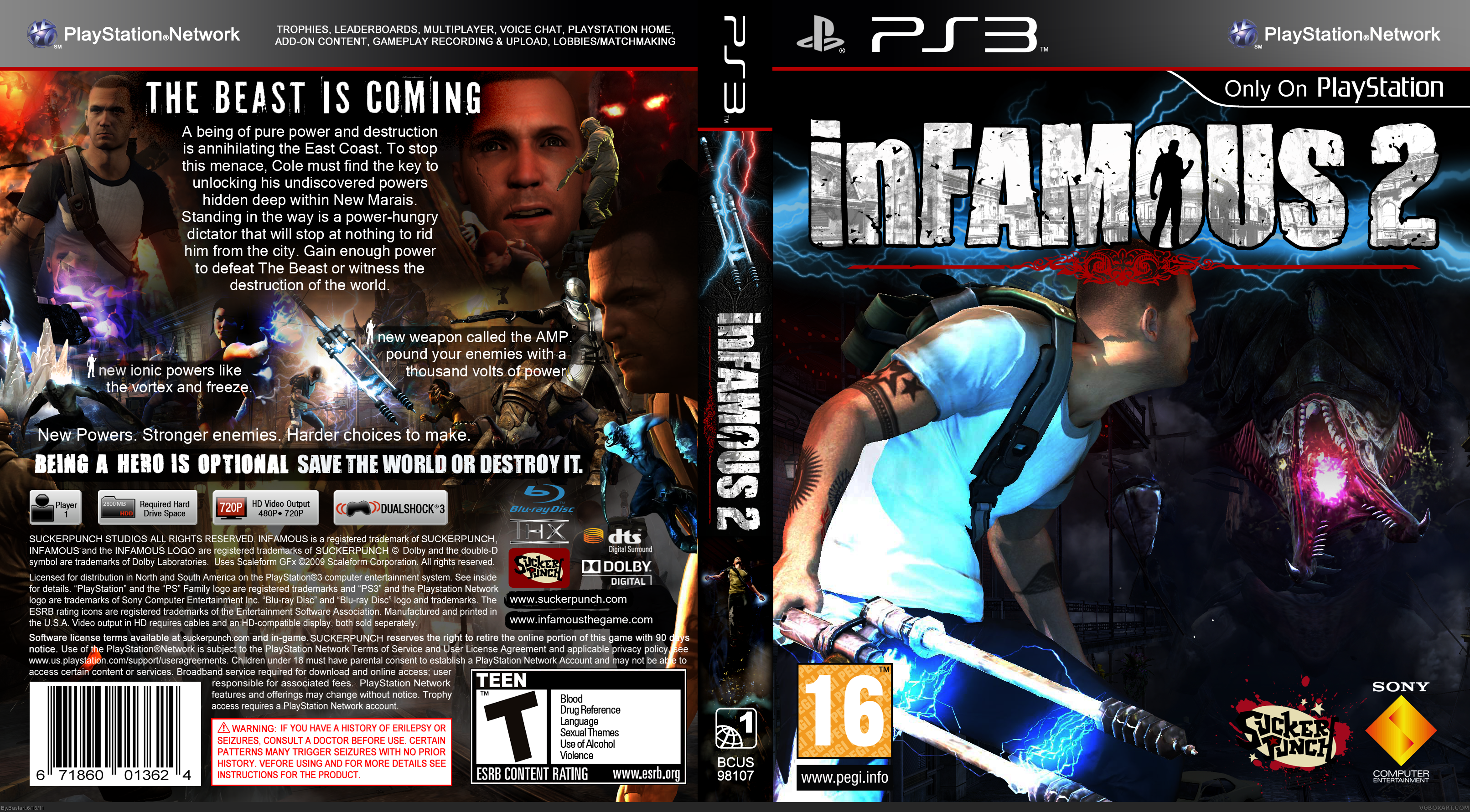 Infamous 2 Playstation 3 Box Art Cover By Bastart
