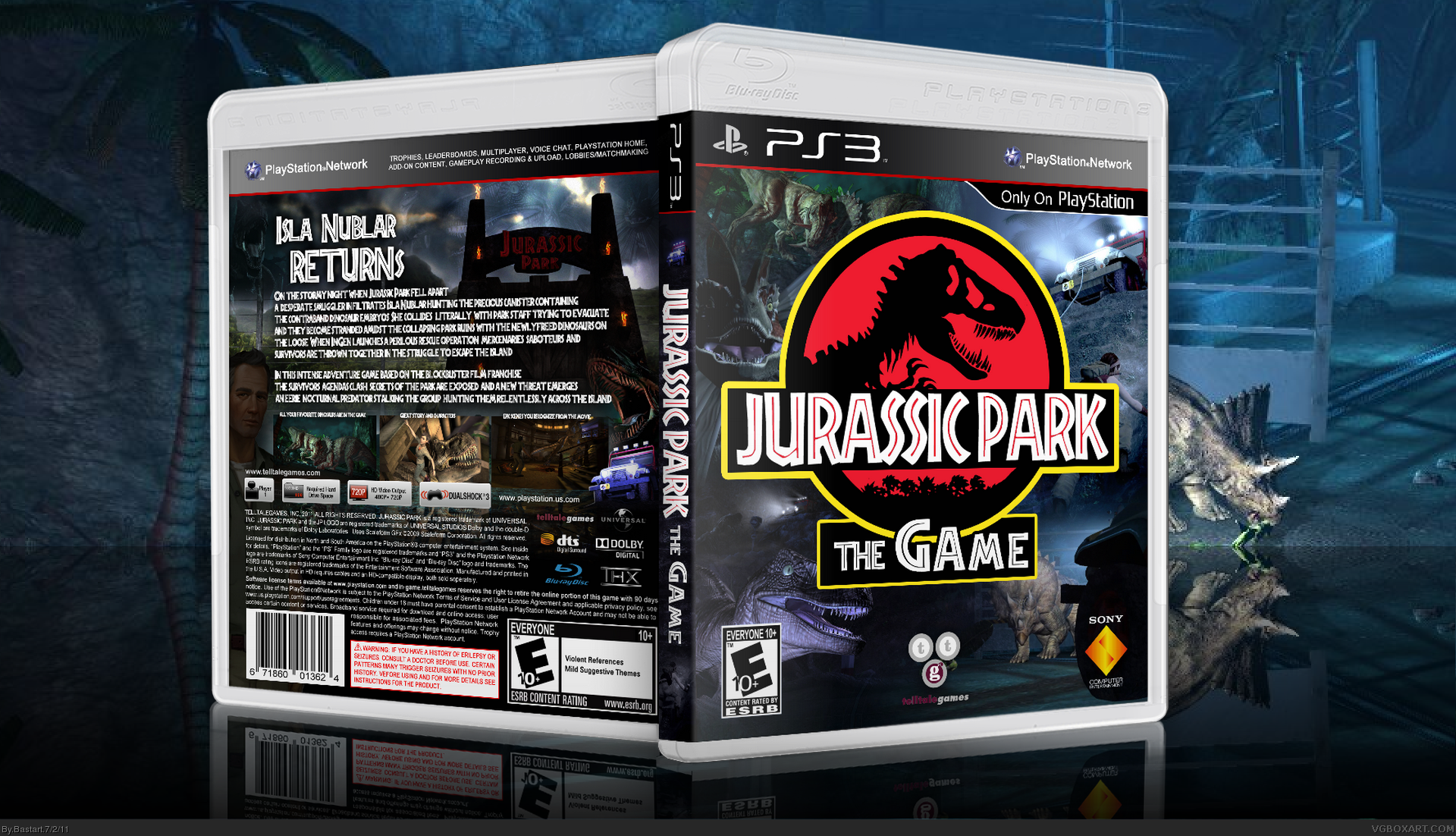 jurassic park the game playstation 3 box art cover by bastart