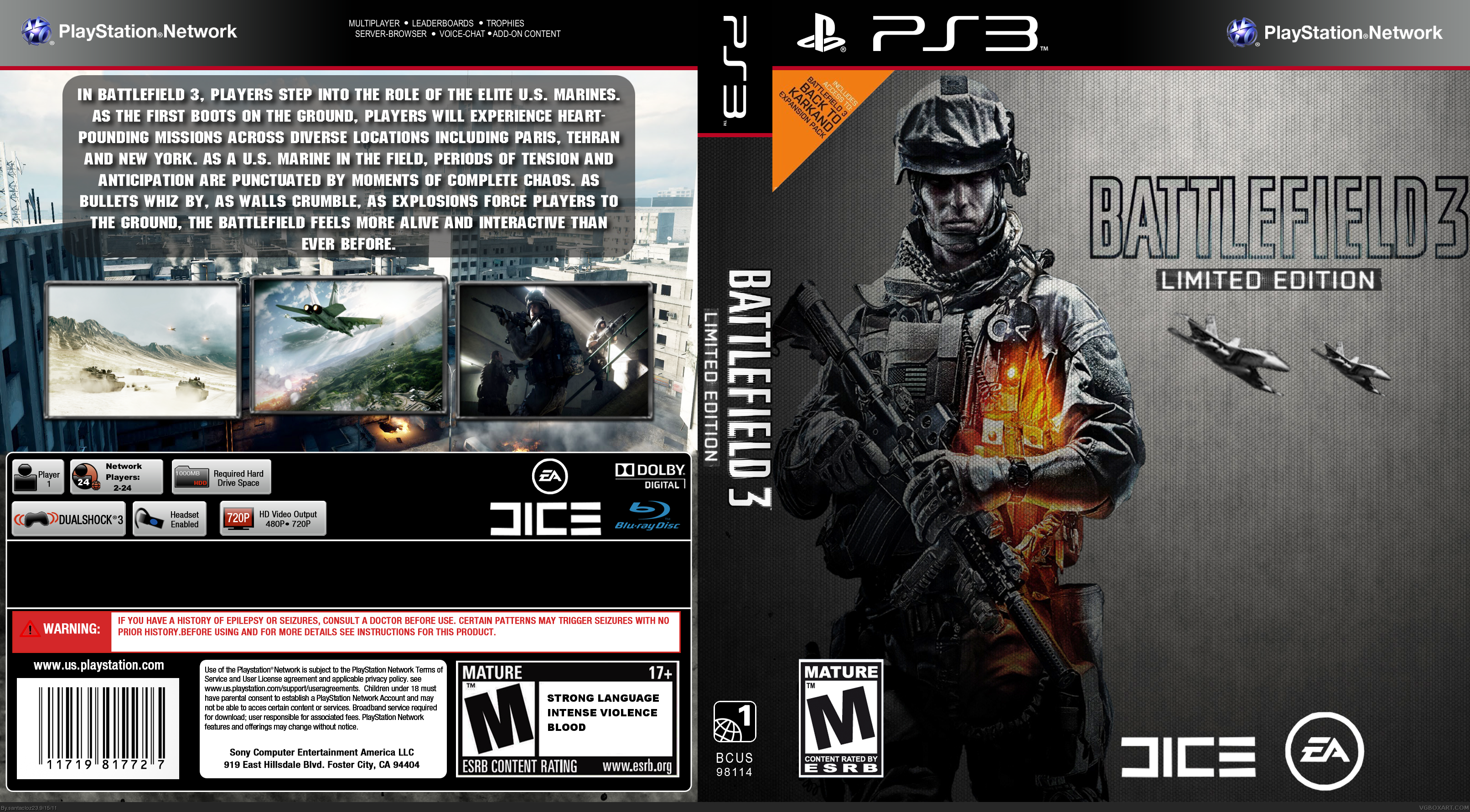 Battlefield 3 Limited Edition PlayStation 3 Box Art Cover ...
