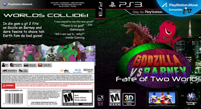 Godzilla VS Barney PlayStation 3 Box Art Cover By Madoublex