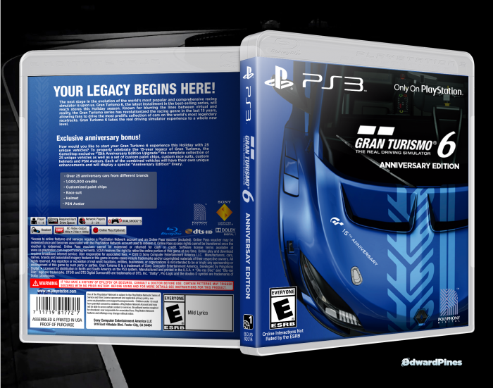 gran turismo 6 anniversary edition playstation 3 box art. Black Bedroom Furniture Sets. Home Design Ideas