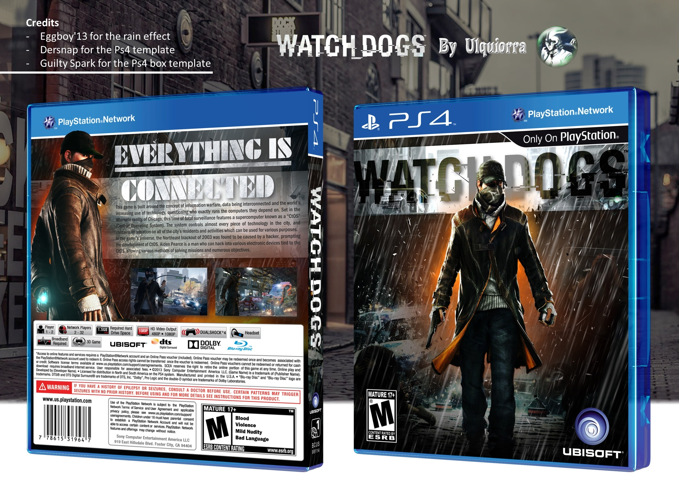 Watch Dogs PlayStation 4 Box Art Cover by Ulquiorra Watch Dogs Ps4 Box Art