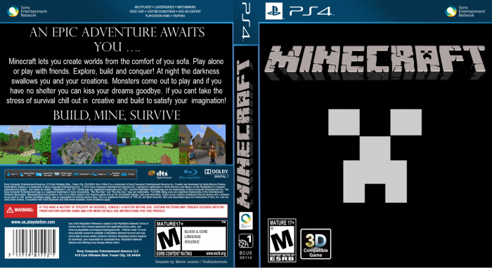 Minecraft PlayStation 4 Box Art Cover by 1703joe : 62198 minecraft from vgboxart.com size 700 x 382 png 223kB