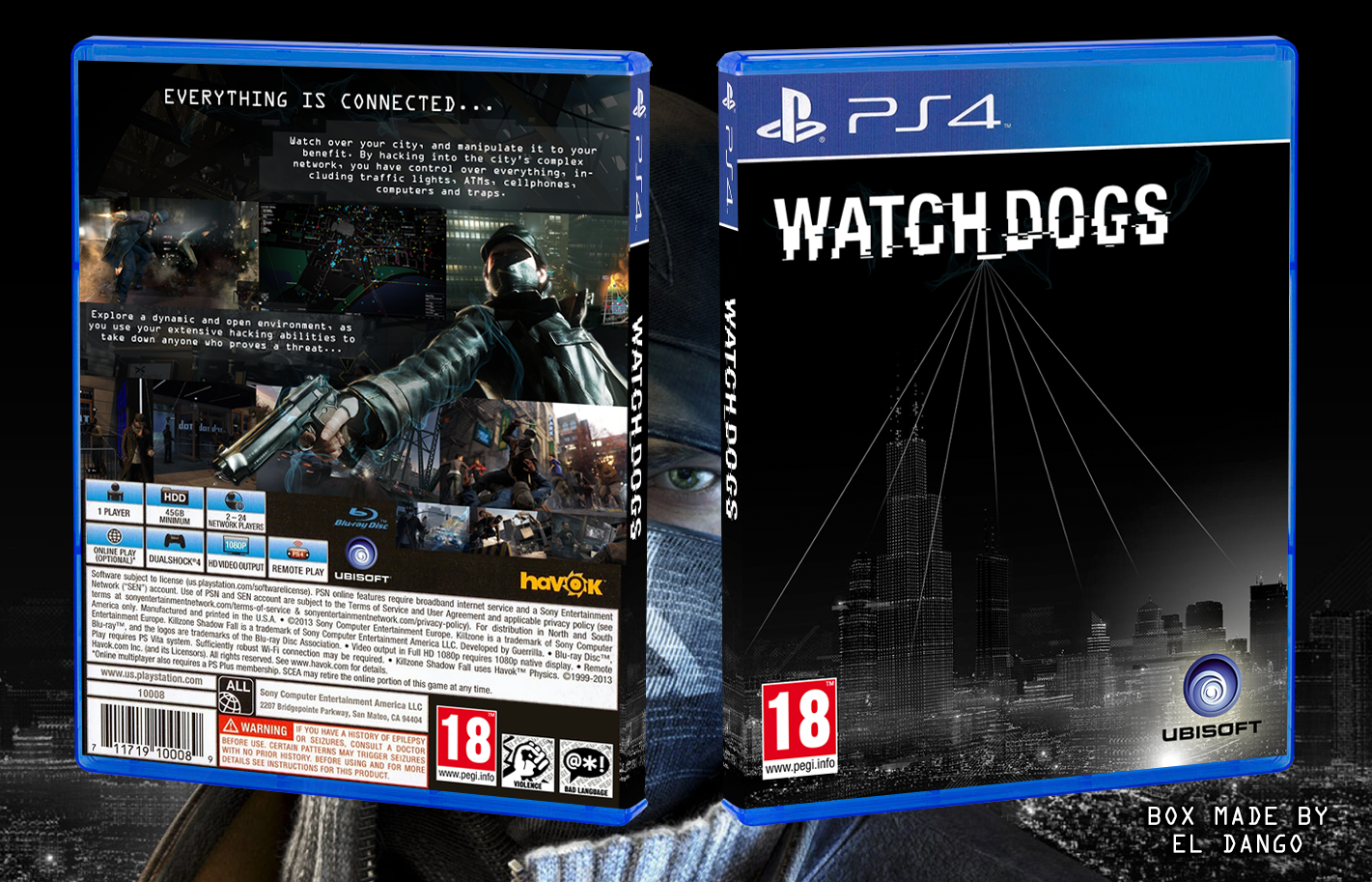 Watch Dogs PlayStation 4 Box Art Cover by El Dango Watch Dogs Ps4 Box Art