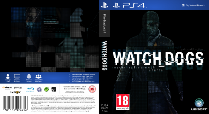 Watch Dogs Box Art PlayStation 4 Box Art Cover by PatoSRW