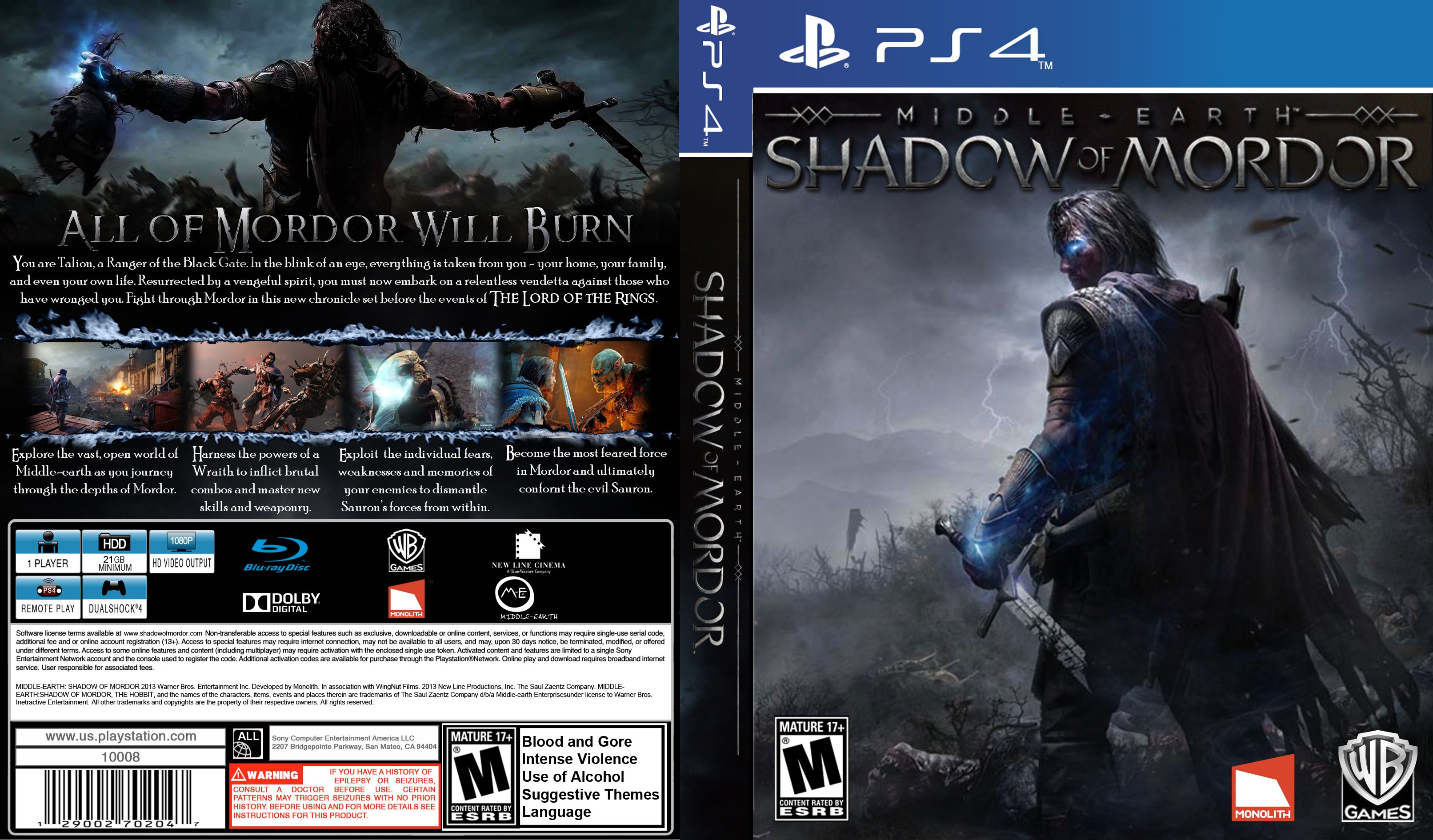Middle-earth: Shadow of Mordor PlayStation 4 Box Art Cover ...