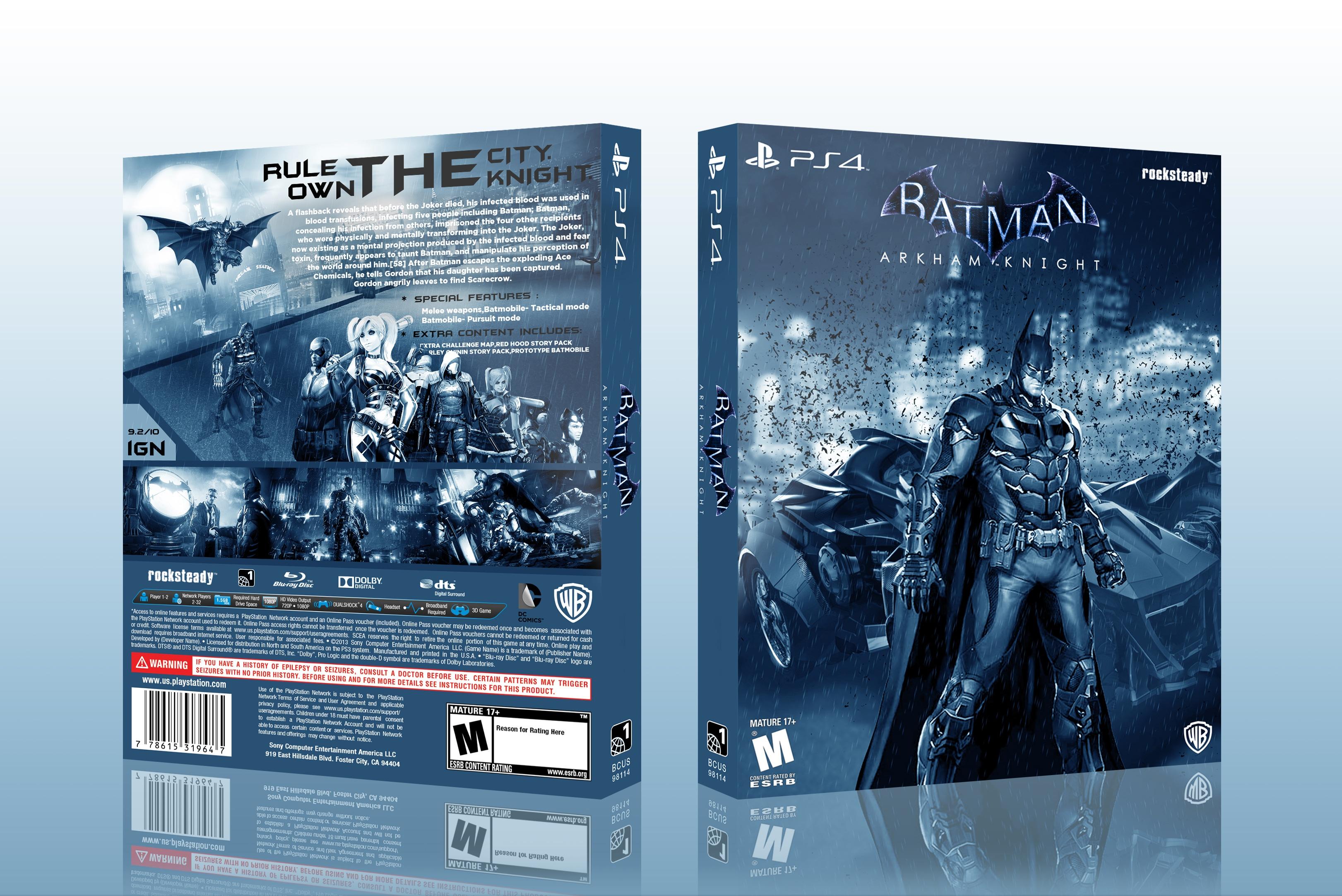 Batman: Arkham Knight PlayStation 4 Box Art Cover by edward91