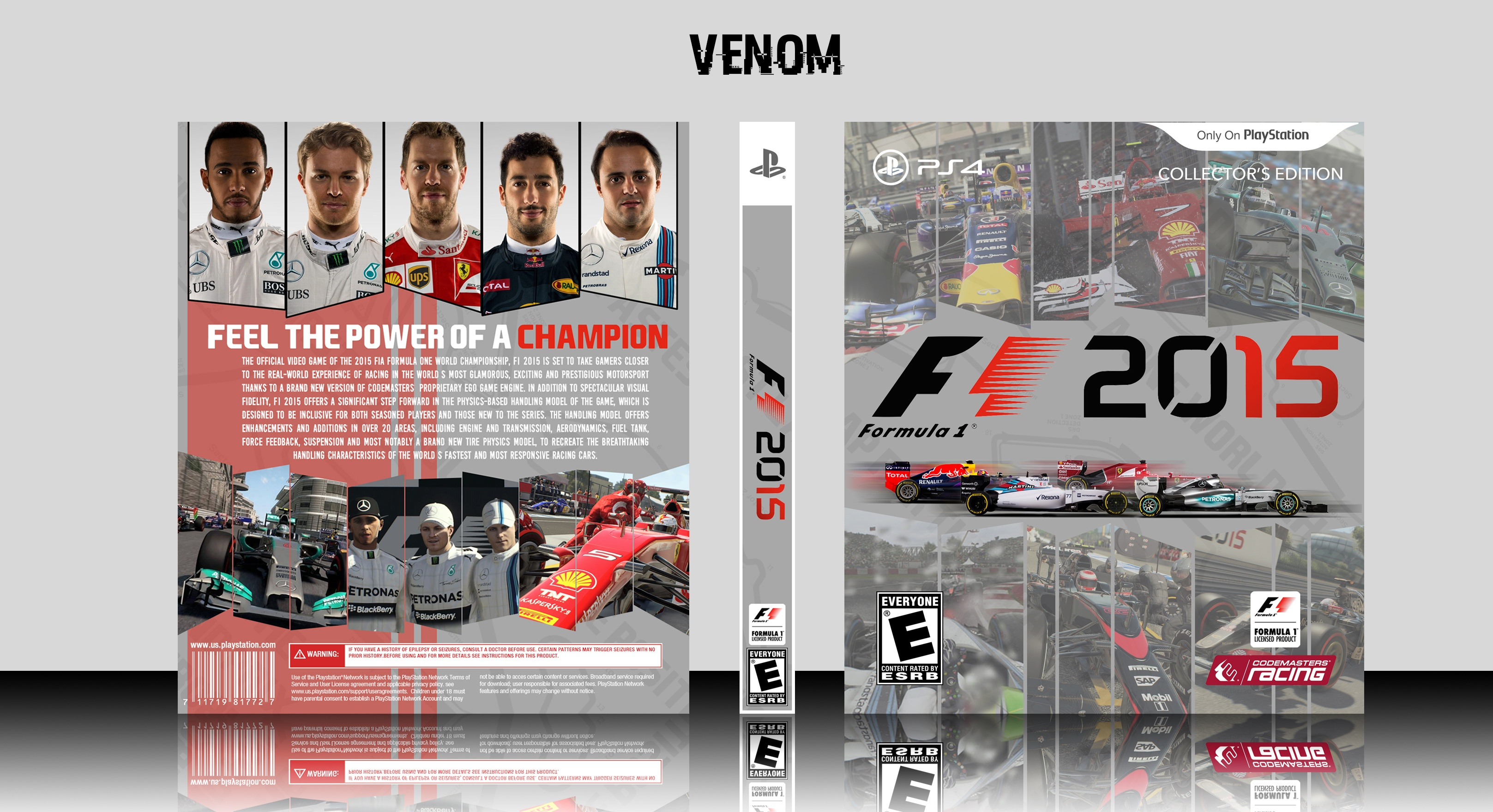 f1 2015 playstation 4 box art cover by venom. Black Bedroom Furniture Sets. Home Design Ideas