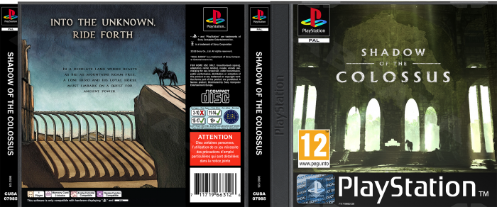 Shadow Of The Colossus (2018) - PS1 Custom box art cover