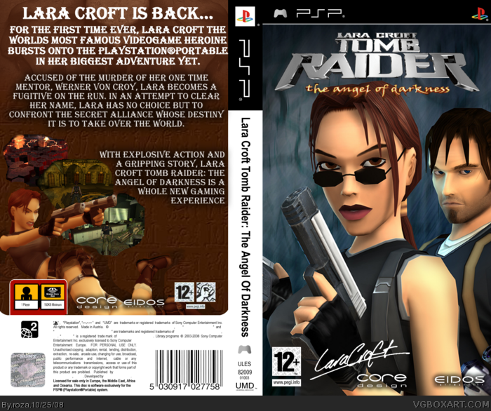 Lara Croft Tomb Raider The Angel Of Darkness Psp Box Art Cover By