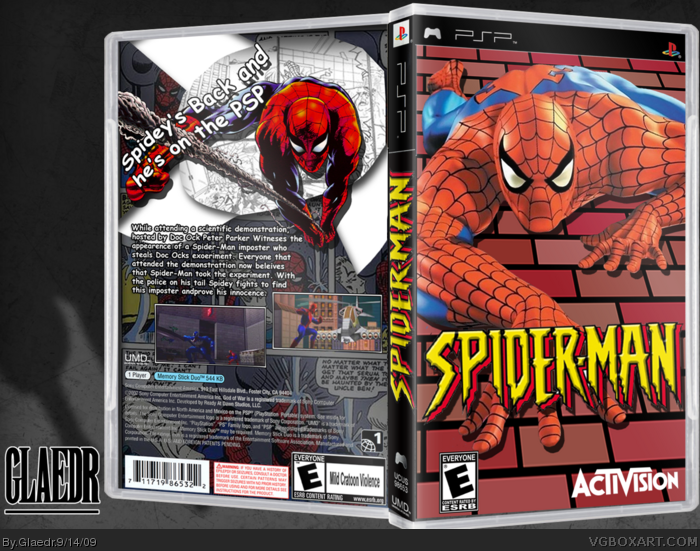 spiderman psp box art cover by glaedr