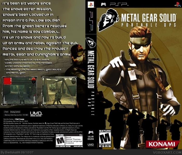 Metal Gear Solid: Portable Ops PSP Box Art Cover By Brettska99