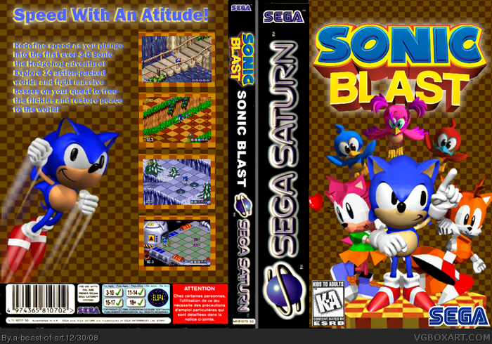 Sonic Blast Sega Saturn Box Art Cover by a-beast-of-art