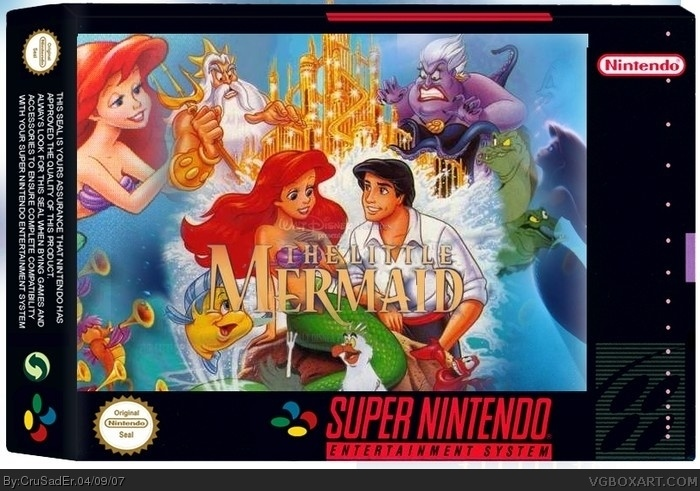 Disney s the little mermaid snes box art cover by crusader