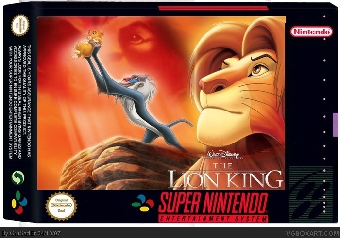 Disney S The Lion King Snes Box Art Cover By Crusader