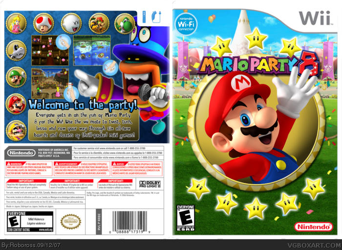 mario party 8 wii box art cover by roboross. Black Bedroom Furniture Sets. Home Design Ideas