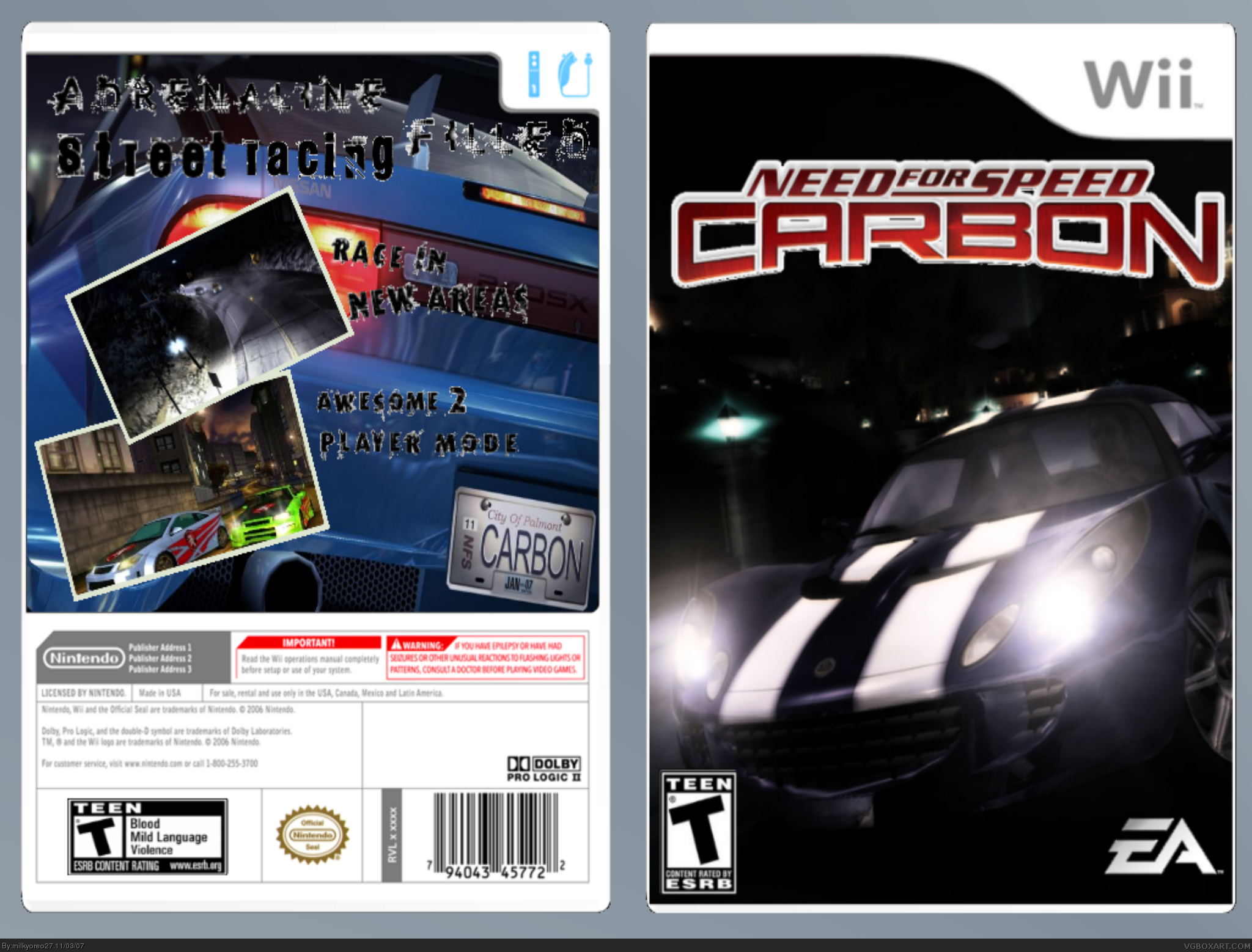 need for speed carbon wii box art cover by milkyoreo27. Black Bedroom Furniture Sets. Home Design Ideas