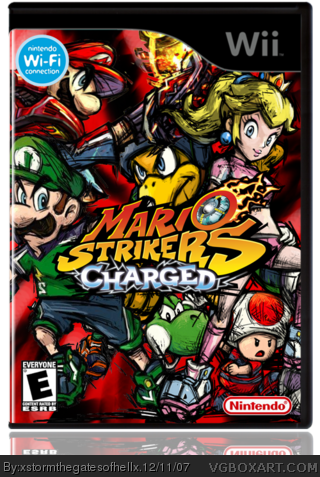 Super Mario Strikers Charged Wii Box Art Cover By