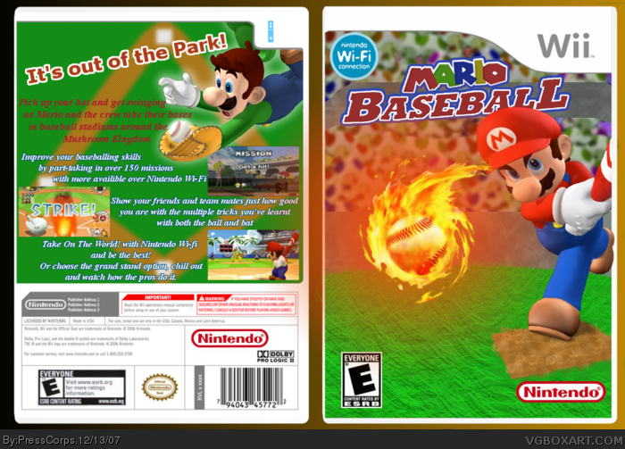 Mario Baseball 3ds Mario Baseball Box Art Cover