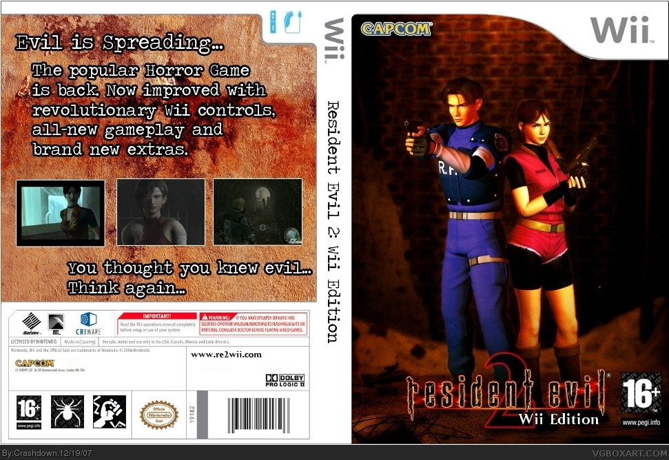 Viewing full size Resident Evil 2 Wii Edition box cover
