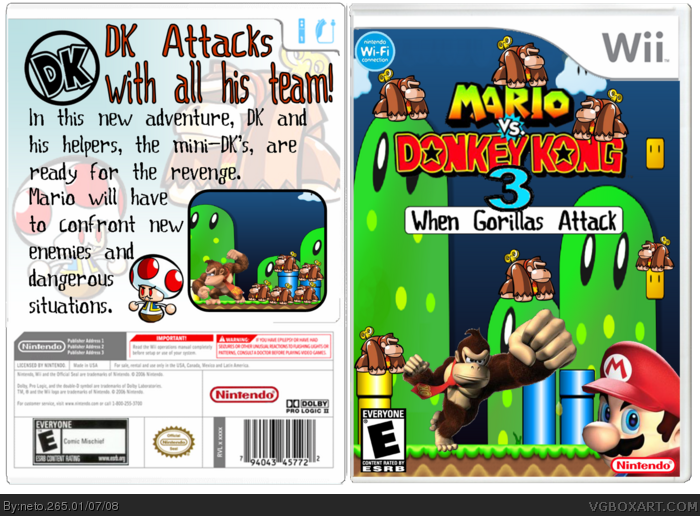Mario Vs. Donkey Kong 3: When Gorillas Attack box art cover